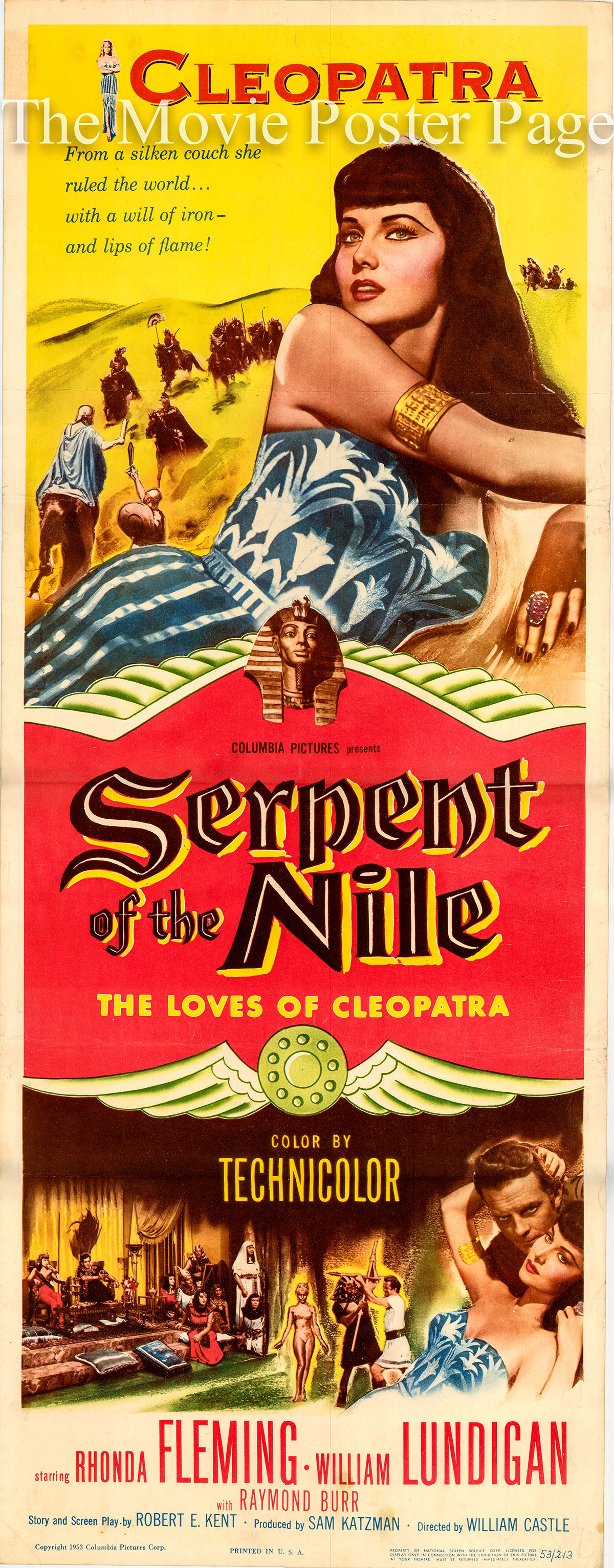 Pictured is a US promotional insert for the 1953 William Castle film Serpent of the Nile starring Rhonda Fleming.
