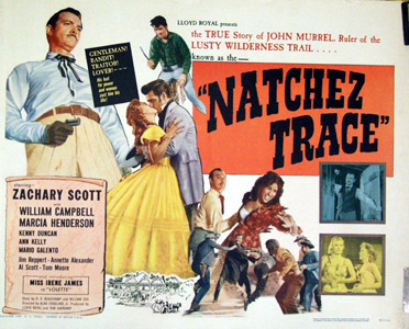Pictured is a U.S. half-sheet promotional poster for the 1959 Alan Crosland Jr. film Natchez Trace starring Zachary Scott.