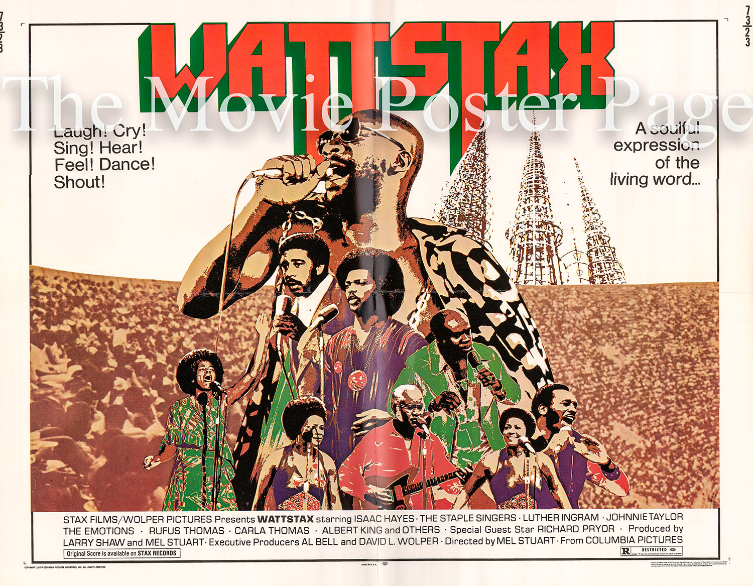 Pictured is a US half-sheet promotional poster for the 1973 Mel Stuart film Wattstax starring The Staple Singers and other performers.