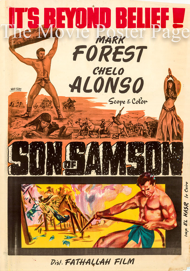 Pictured is an Egyptian promotional poster for the 1960 Carlo Campogalliani film Son of Samson starring Mark Forest.