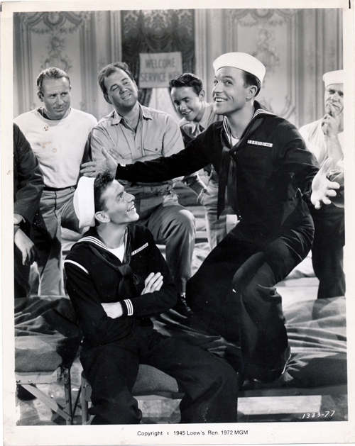 Pictured is a US promotional still photo from the 1945 George Sidney film Anchors Aweigh starring Frank Sinatra, Kathryn Grayson and Gene Kelly.