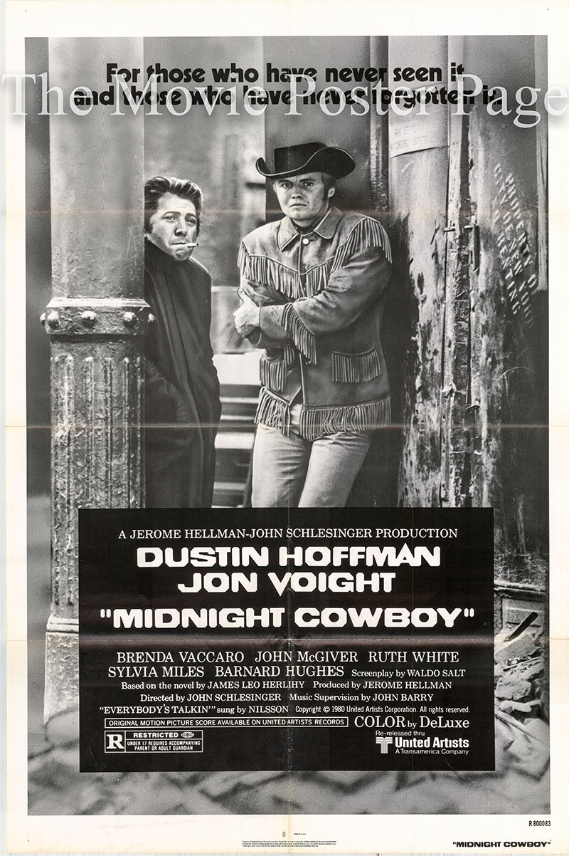 Pictured is a US one-sheet promotional poster for the 1980 rerelease of the the 1969 John Schlesinger film Midnight Cowboy starring Dustin Hoffman and Jon Voight.