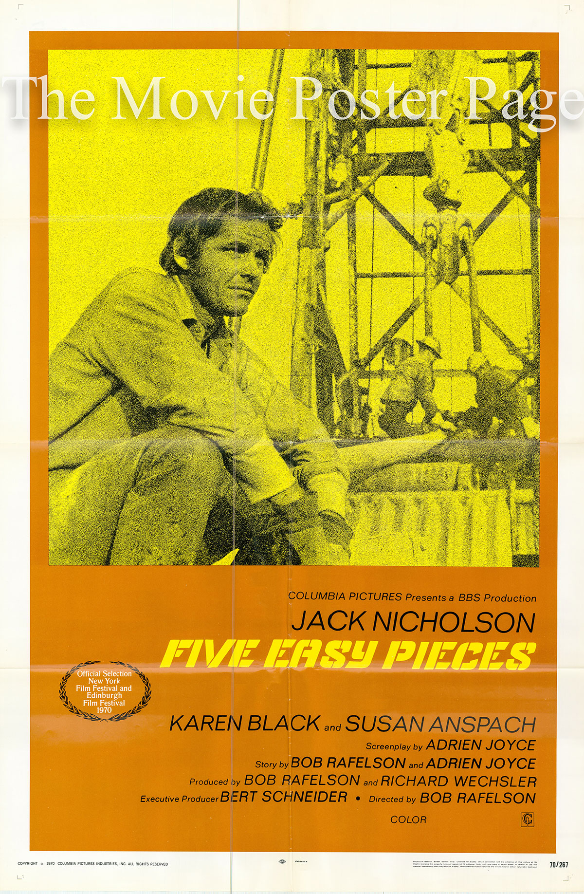 Pictured is a US one-sheet promotional poster for the 1970 Bob Rafelson film Five Easy Pieces starring Jack Nicholson.