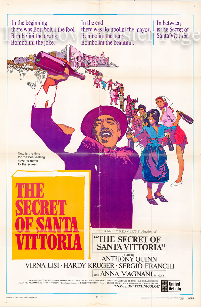 Pictured is a US one-sheet promotional poster for the 1969 Stanley Kramer film The Secret of Santa Vittoria starring Anthony Quinn.