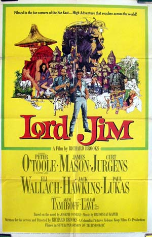 Pictured is a US promotional poster for the 1965 Richard Brooks film Lord Jim starring Peter O'Toole as Lord Jim.