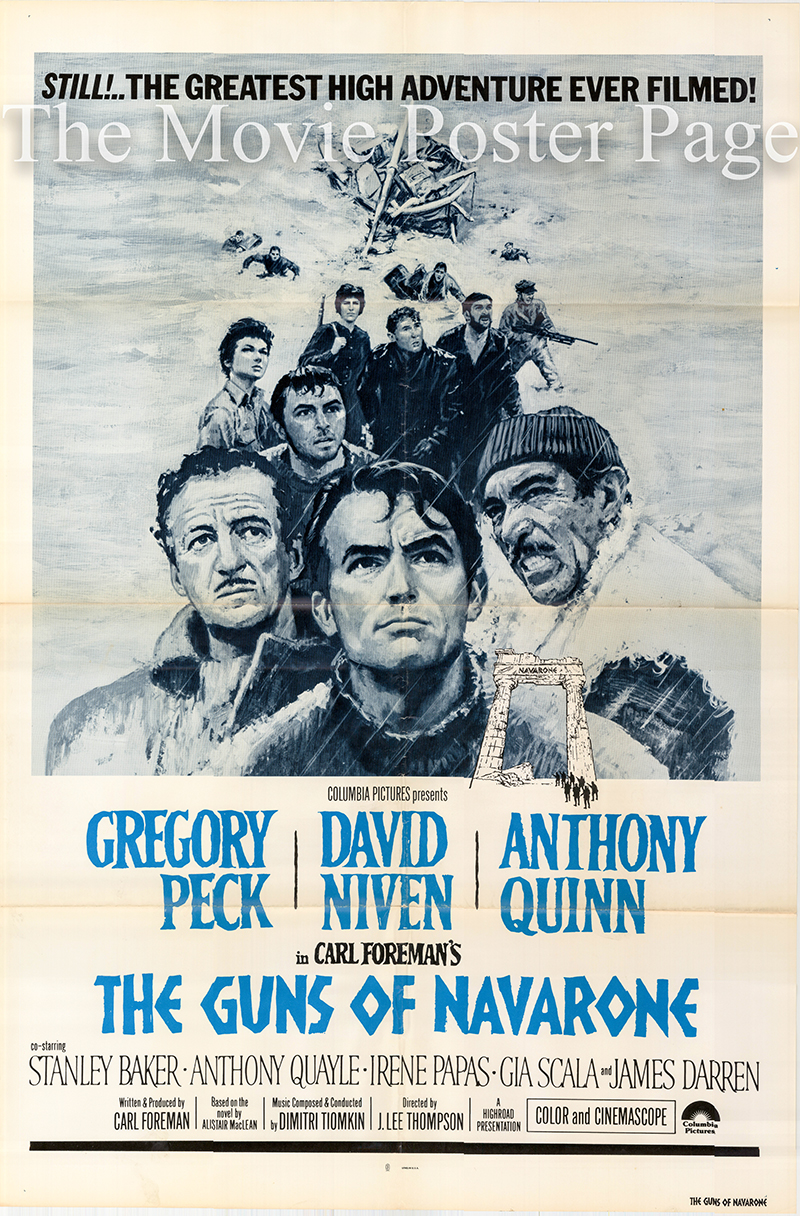 Pictured is a US one-sheet promotional poster for an undated rerelease of the 1961 J. Lee Thompson film Guns of Navarone starring Gregory Peck.
