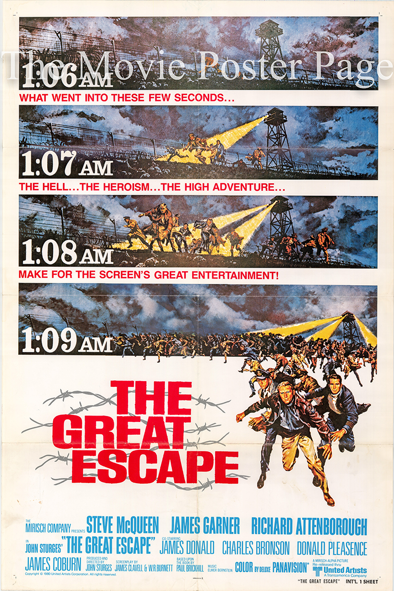 Pictured is a US international one-sheet promotional poster for a 1980 rerelease of the 1963 John Sturges film The Great Escape starring Steve McQueen.