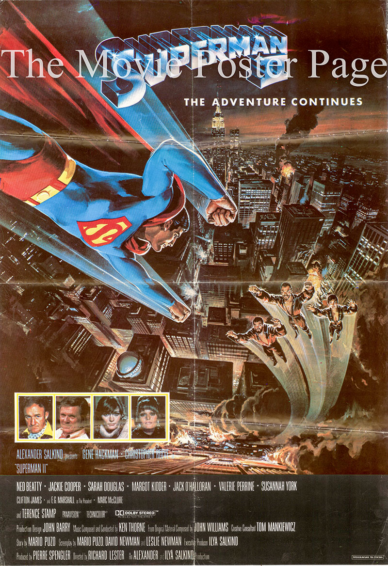 Pictured is an Italian one-sheet promotional poster for the 1980 Richard Lester film Superman II starring Christopher Reeve.