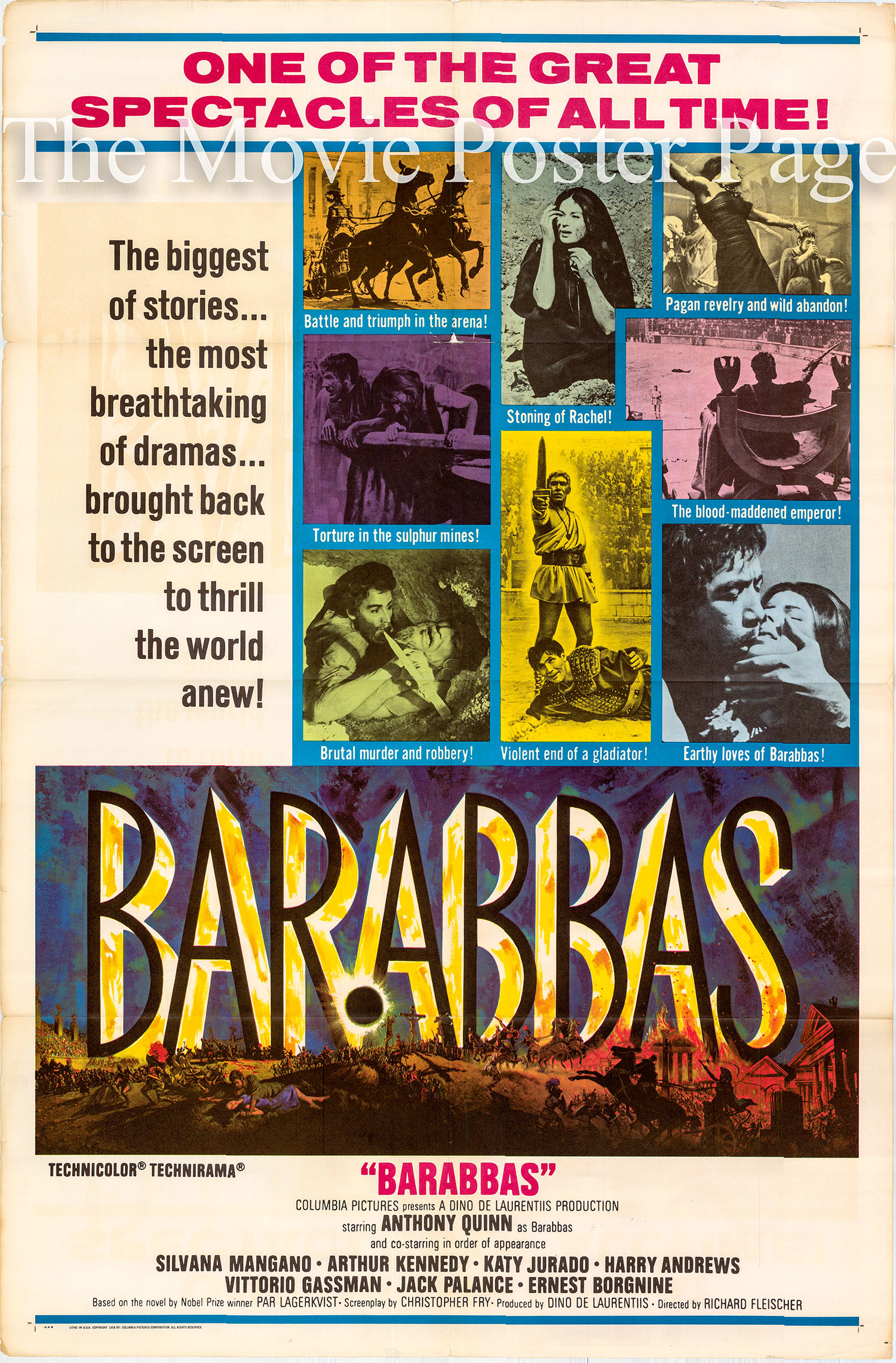 Pictured is a US one-sheet promotional poster for the 1961 Richard Fleischer film Barabbas starring Anthony Quinn.