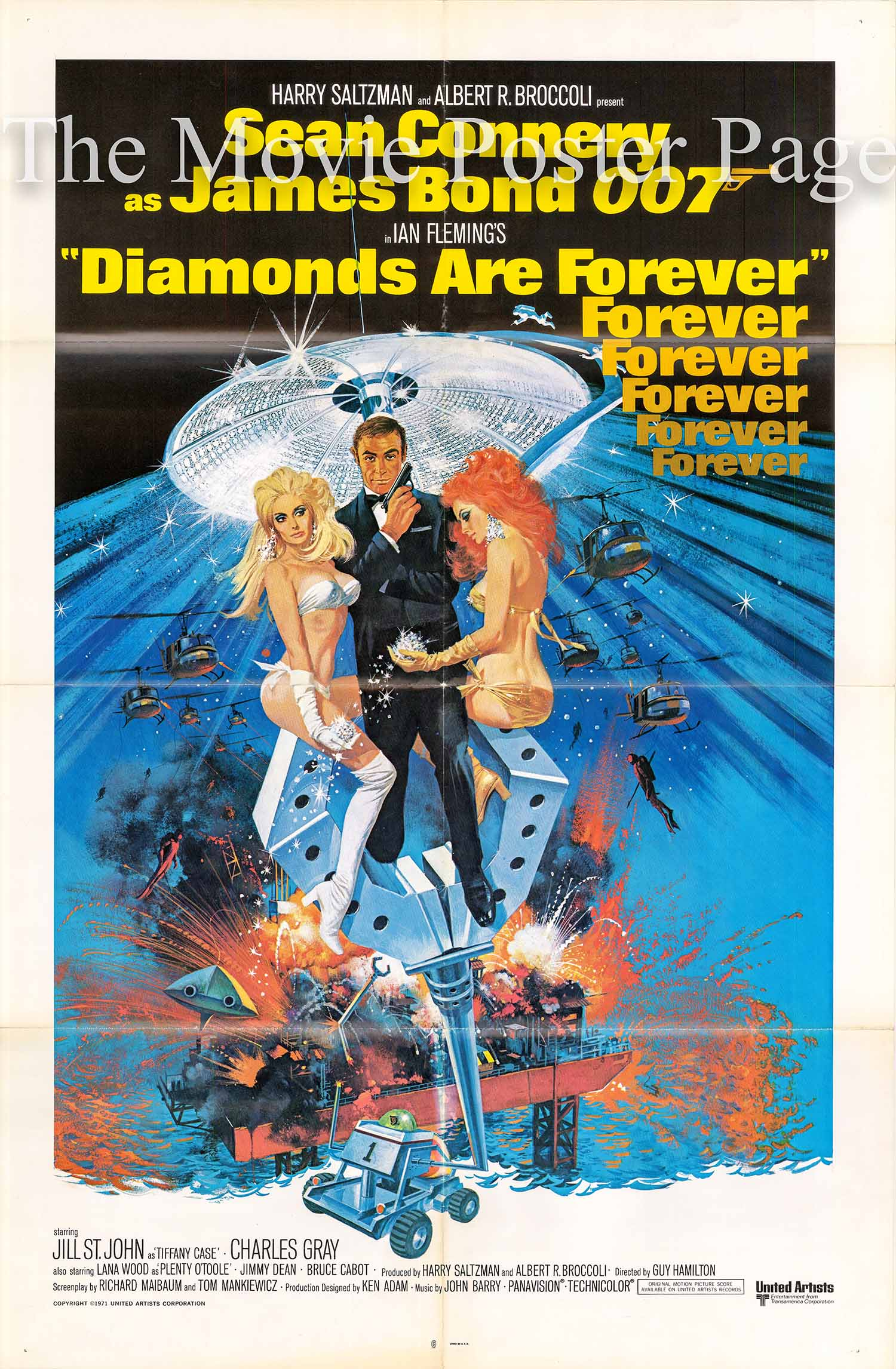 Pictured is a US international one-sheet promotional poster for a 1980s rerelease of the 1971 Guy Hamilton film Diamonds Are Forever starring Sean Connery.