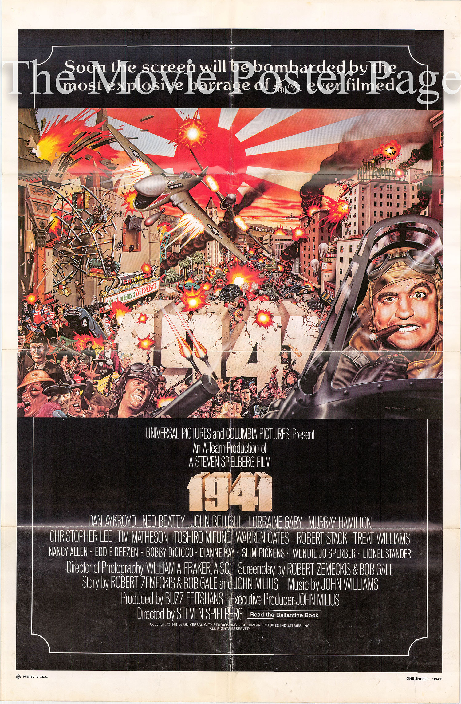 Pictured is a US advance one-sheet promotional poster for the 1979 Steven Spielberg film 1941 starring Dan Aykroyd.