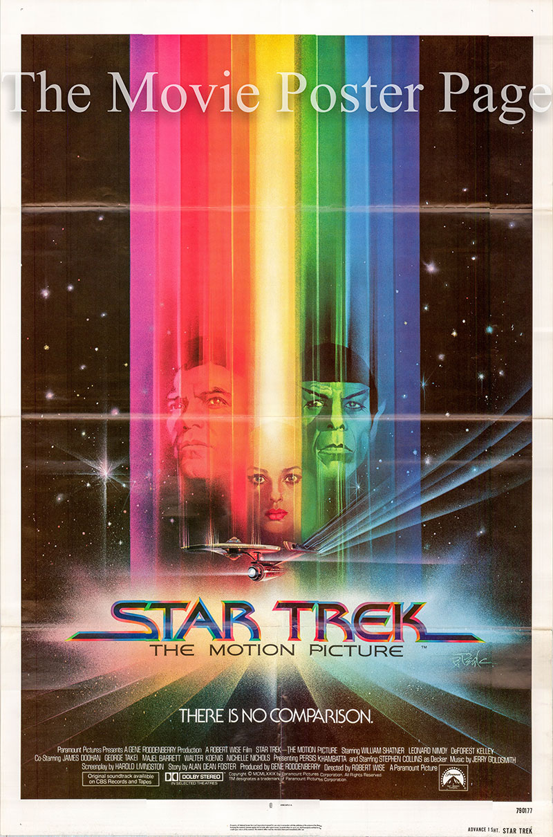 Pictured is a US advance one-sheet promotional poster for the 1979 Robert Wise film Star Trek starring William Shatner and Leonard Nimoy.