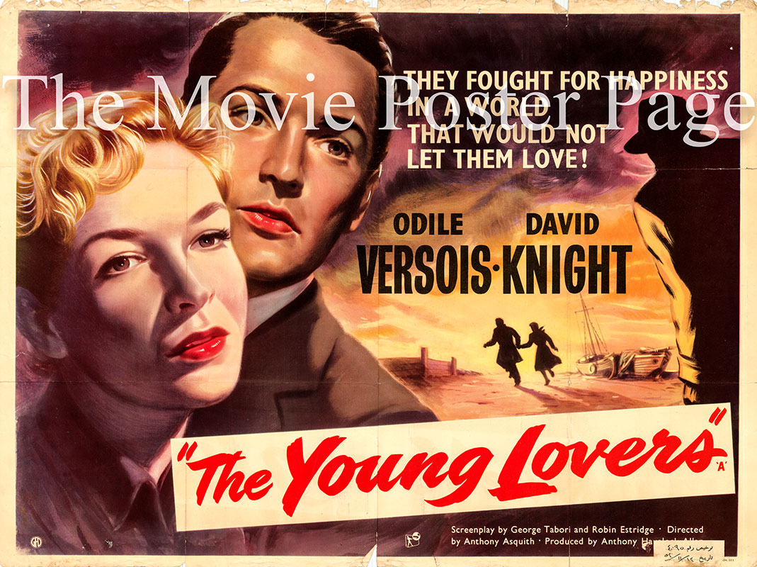 Pictured is a UK quad promotional poster for the 1954 Anthony Asquith film The Young Lovers starring Odile Versois.