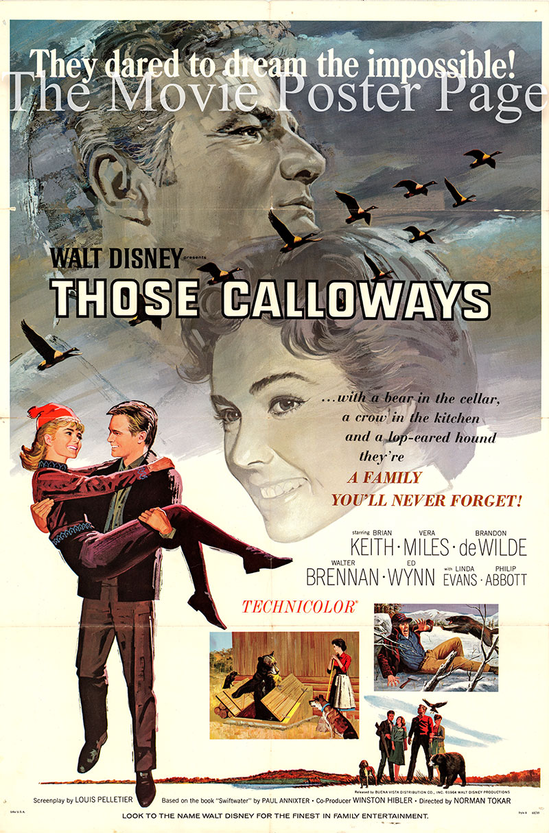 Pictured is a US promotional poster for the 1965 Norman Tokar film Those Calloways starring Brian Keith as Ken.