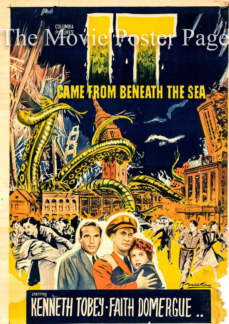 Pictured is an Egyptian promotional poster for the 1955 Robert Gordon film It Came from Beneath the SEa starring Kenneth Tobey.