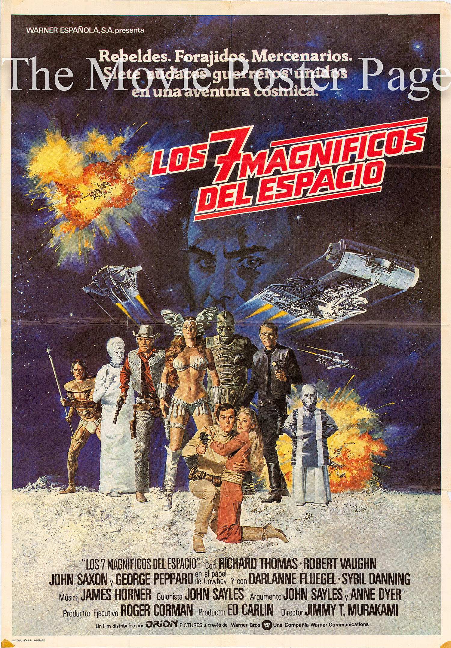 Pictured is a Spanish one-sheet poster for the 1980 Jimmy T. Murakami film Battle Beyond the Stars starring Richard Thomas.