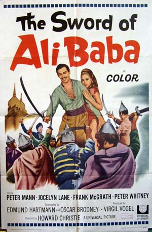 Pictured is a US one-sheet promotional poster for the 1967 Virgil W. Vogel film The Sword of Ali Baba starring Peter Mann as Ali Baba.