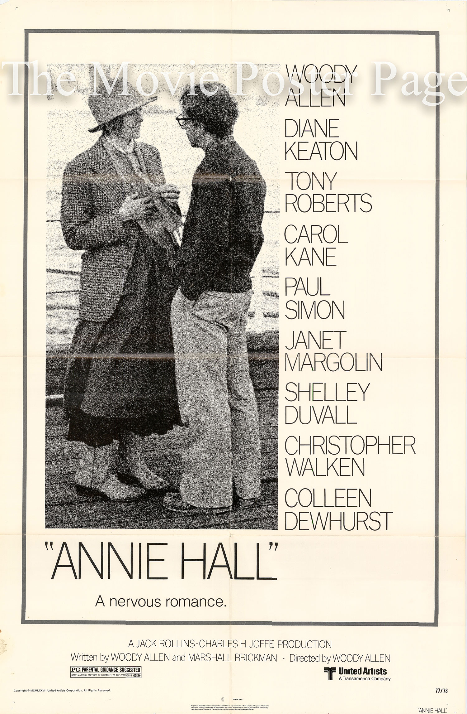 Pictured is a US promotional poster for the 1977 Woody Allen Film Annie Hall starring Woody Allen and Diane Keaton as Annie Hall.