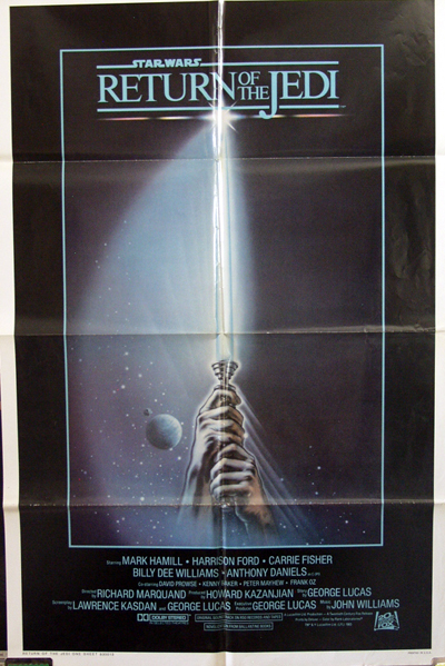Pictured is a US promotional one-sheet for the 1983 Richard Marquand film Return of the Jedi, starring Mark Hamill as Luke Skywalker.