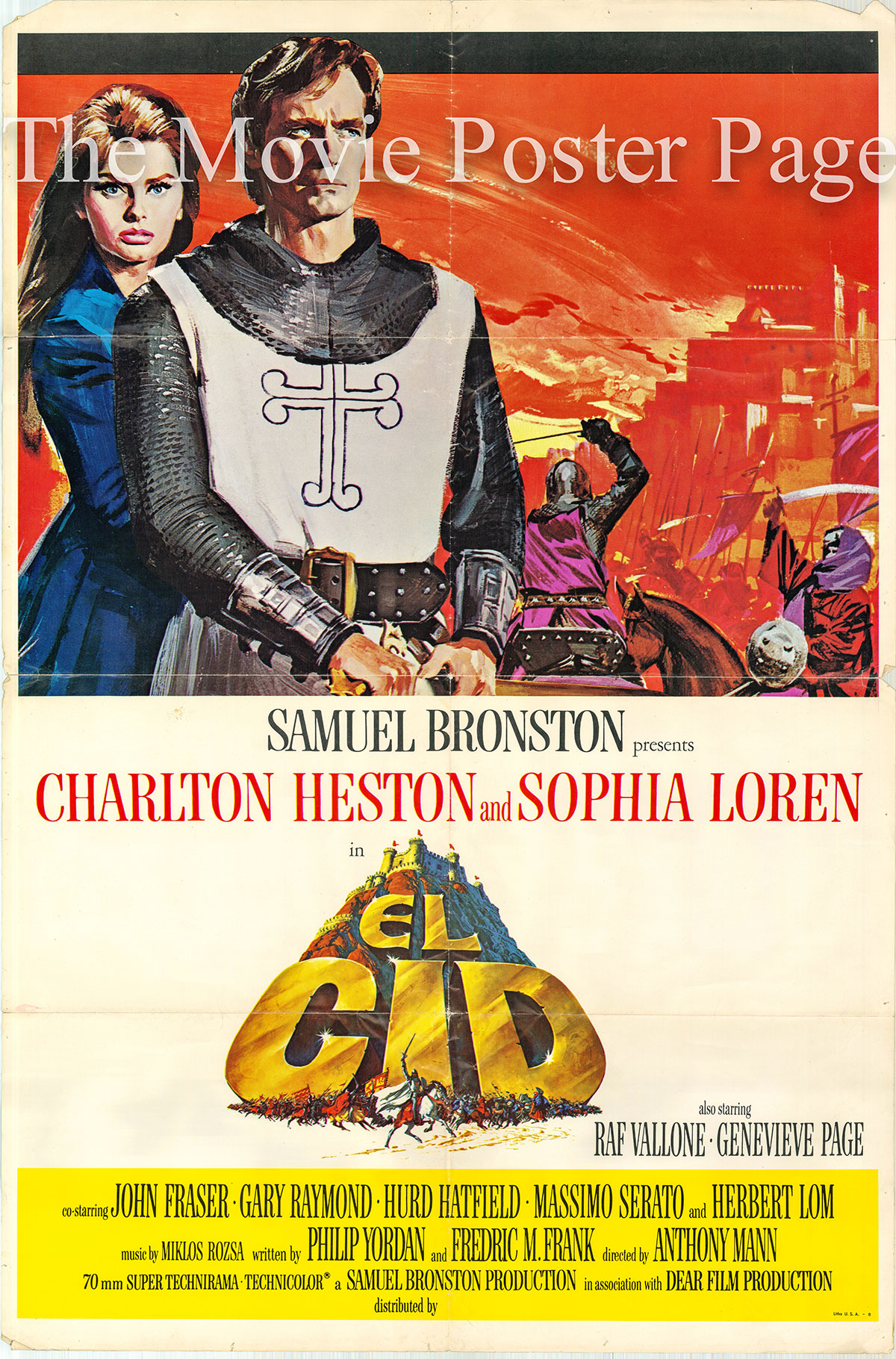 Pictured is a US promotional poster for the 1961 Anthony Mann film El Cid starring Charlton Heston and Sophia Loren.