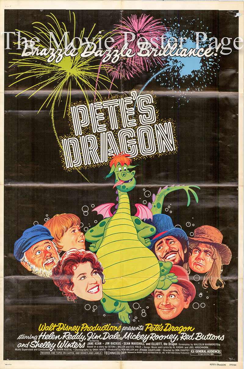 Pictured is a US one-sheet promotional poster for the 1977 Don Chaffey film Pete's Dragon starring Helen Reddy.