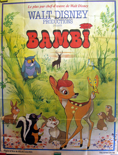 Pictured is a French grande poster for a 1970s rerelease of the 1942 James Algar Disney animation film Bambi.