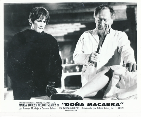 Pictured is a black-and-white Mexican promotional still for the 1972 Roberto Galvadon film Dona Macabra starring Marga Lopez.