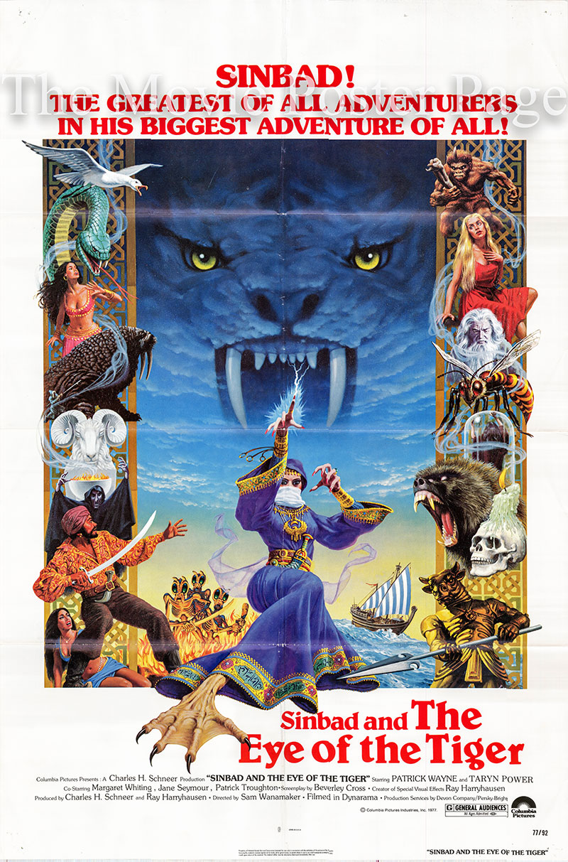 Pictured is a US one-sheet poster for the 1977 Sam Wanamaker film Sinbad and the Eye of the Tiger starring Patrick Wayne as Sinbad.