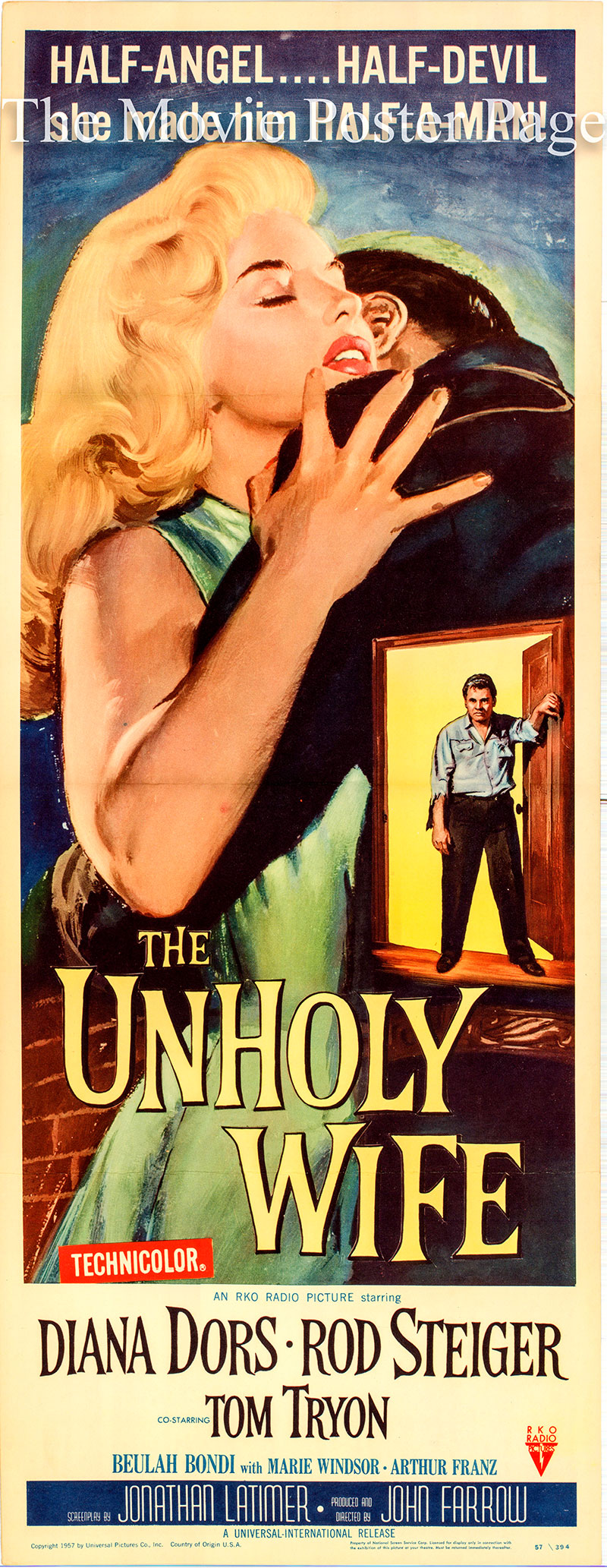 Pictured is a US insert promotional poster for the 1957 John Farrow film The Unholy Wife starring Diana Dors and Rod Steiger.