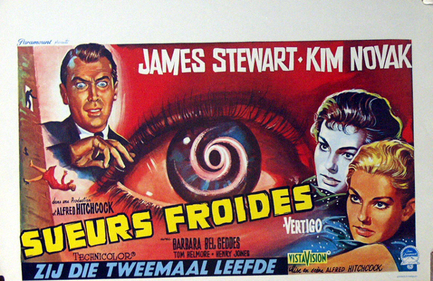 Pictured is a reprint of a Belgian promotional poster for the 1958 Alfred Hitchcock film Vertigo starring James Stewart and Kim Novak.