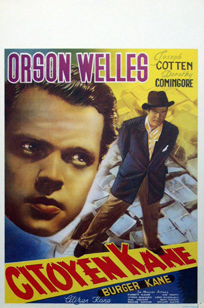 Pictured is a reprint of a Belgian promotional poster for the 1941 Orson Welles film Citizen Kane starring Orson Welles.