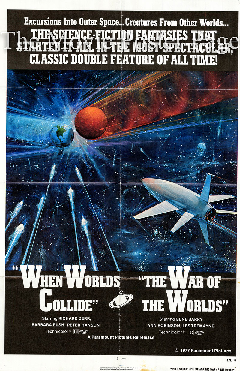 Pictured is a US combo one-sheet poster for a 1977 rerelease of the 1951/1953 films When Worlds Collide and War of the Worlds directed by Rudolph Mate and Byron Haskin.