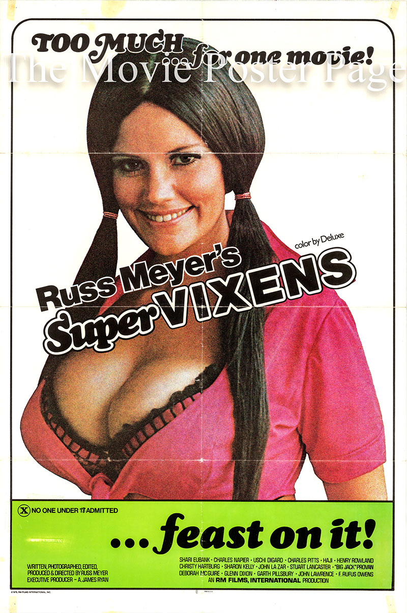 Pictured is a US one-sheet poster for the 1975 Russ Meyer film Supervixens starring Shari Eubank as the Supervixen.