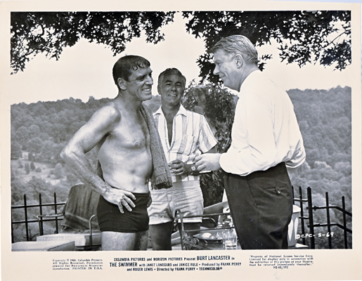 Pictured is a US promotional still photo from the 1968 Frank Perry film The Swimmer starring Burt Lancaster.