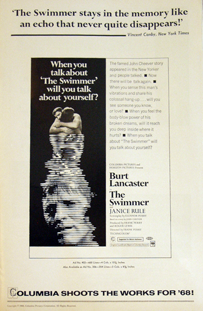 Pictured is a US promotional pressbook from the 1968 Frank Perry  film The Swimmer starring Burt Lancaster.