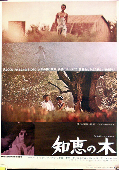 Pictured is a Japanese promotional poster for the 1969 Gordon Parks film The Learning Tree starring Kyle Johnson.