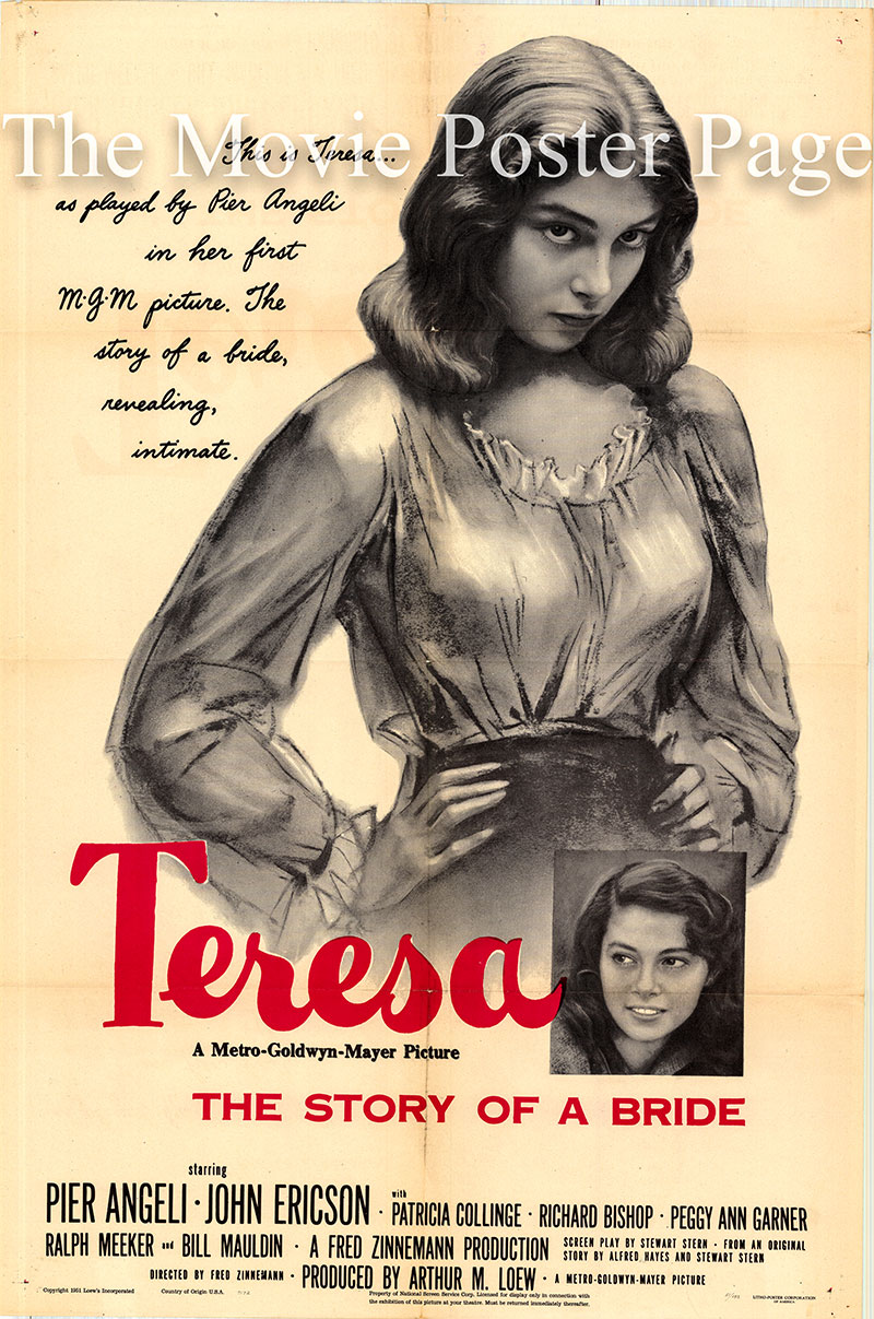 Pictured is a US one-sheet promotional poster for the 1951 Fred Zinnemann film Teresa starring Pier Angeli.