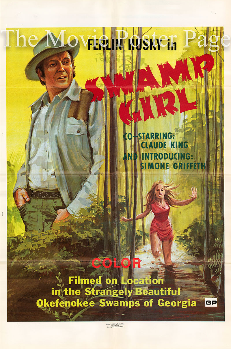 Pictured is a US one-sheet promotional poster for the 1971 Donald A. Davis film Swamp Girl starring Ferlin Husky.