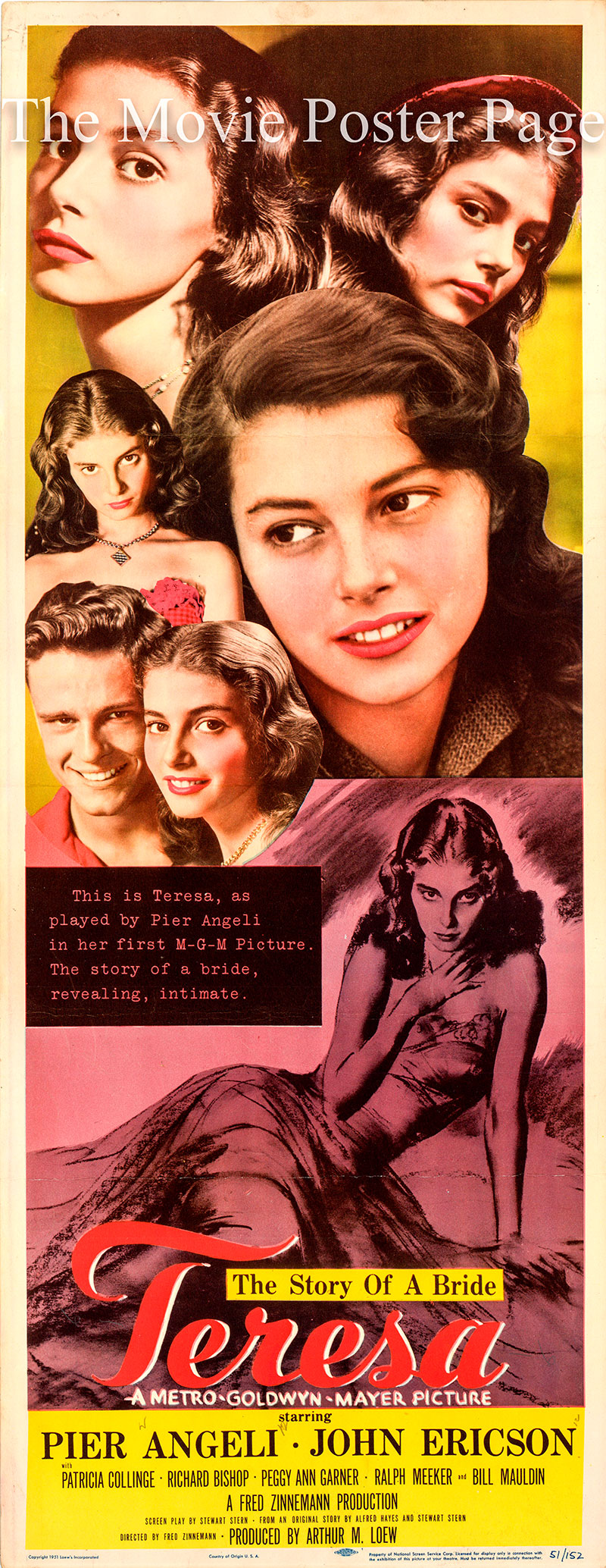 Pictured is a US insert promotional poster for the 1951 Fred Zinnemann film Teresa starring Pier Angeli.