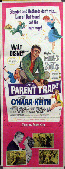 Pictured is a US insert promotional poster for the 1961 David Swift film The Parent Trap starring Hayley Mills.