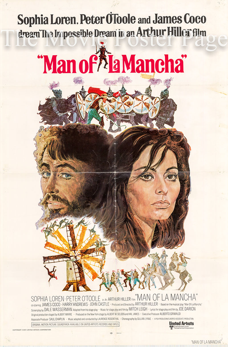 Pictured is a US one-sheet promotional poster for the 1972 Arthur Hiller film The Man of La Mancha starring Peter O'Toole and Sophia Loren.