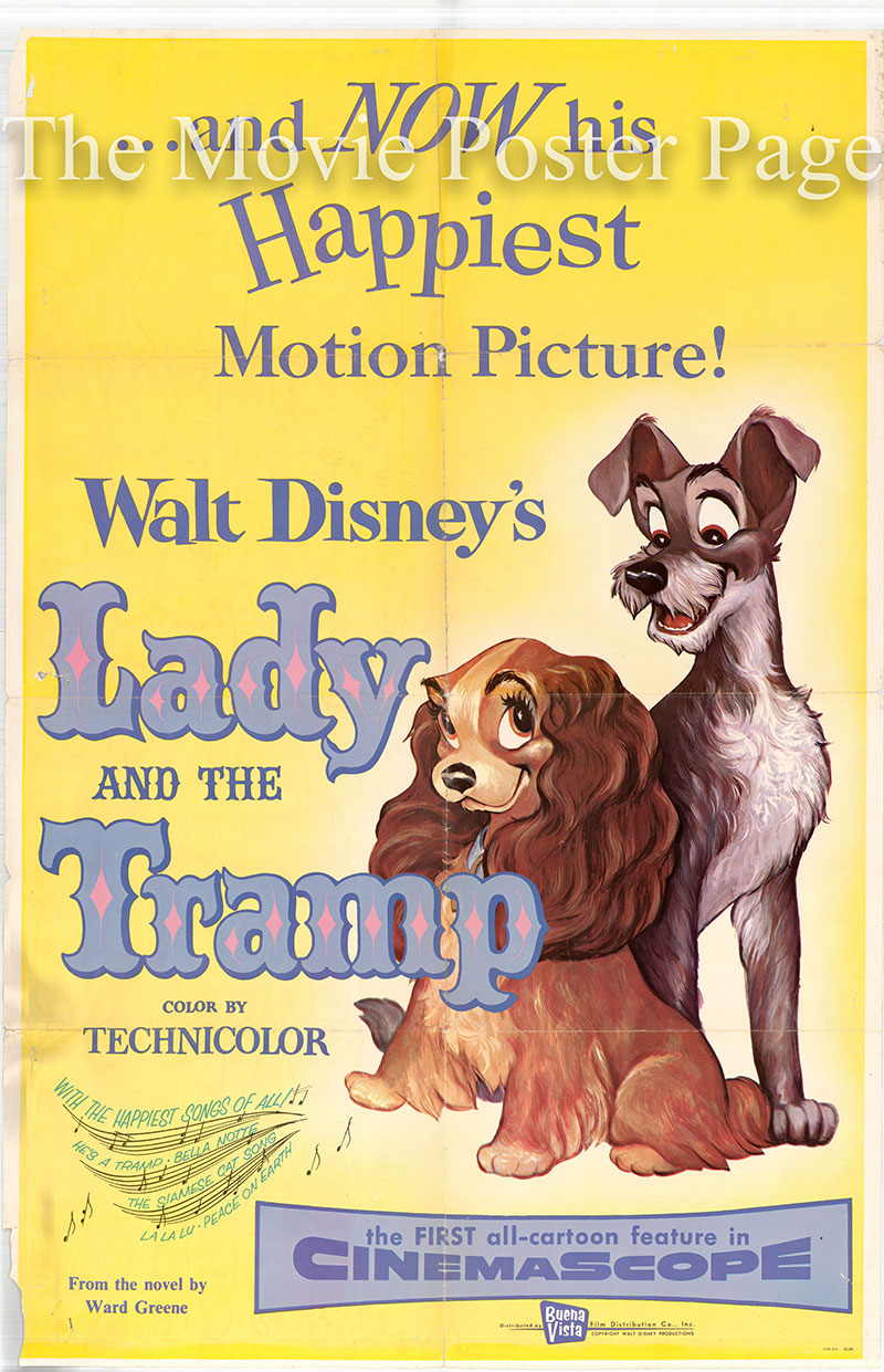 Pictured is a US promotional poster for the 1955 Disney Animation film Lady and the Tramp starring Barbara Luddy as Lady and Larry Roberts as the Tramp.