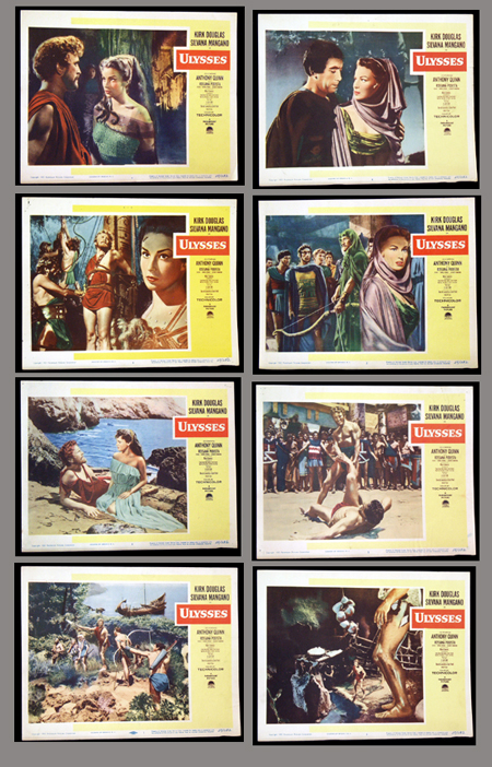 Pictured is a US promotional lobby card set for the 1954 film Mario Camerini film Ulysses starring Kirk Douglas.
