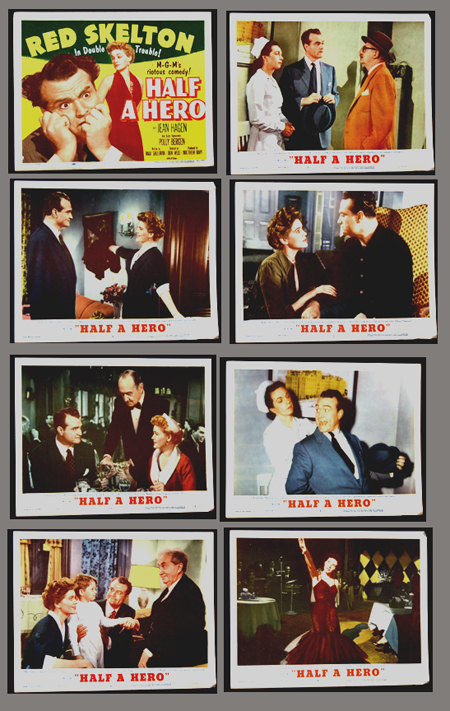 Pictured is a US lobby card set for the 1953 Don Weis film Half a Hero starring Red Skelton.