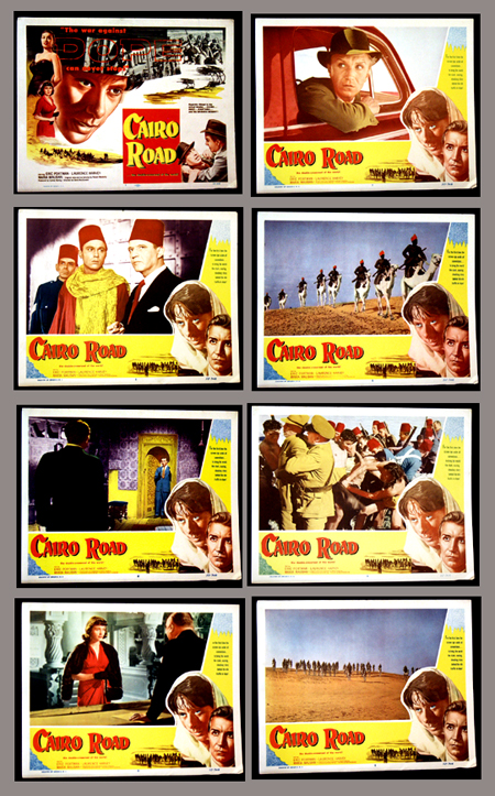 Pictured is a US lobby card set for the 1950 David MacDonald filmCairo Road starring Eric Portman.