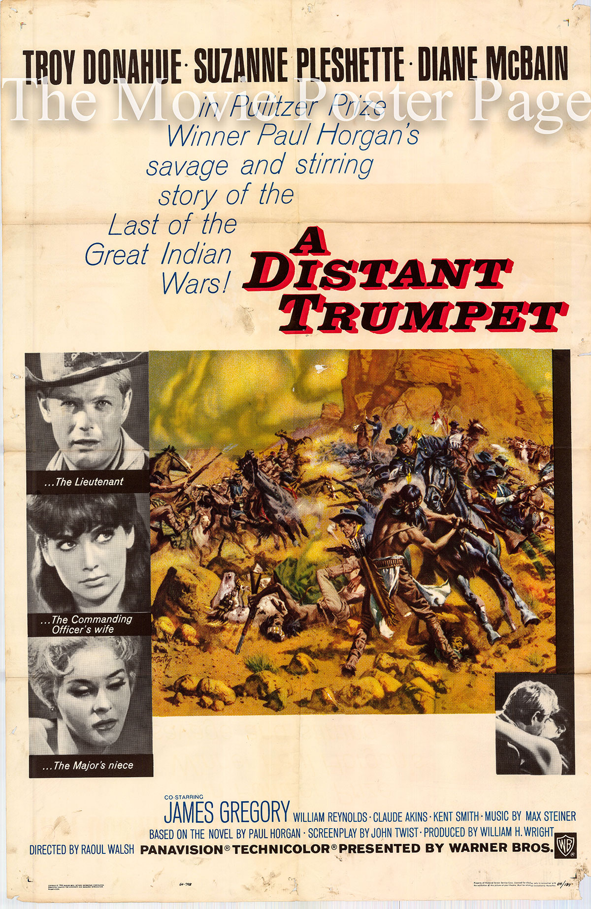 Pictured is a US one-sheet promotional poster for the 1964 Raoul Walsh film A Distant Trumpet starring Troy Donahue and Suzanne Pleshett.