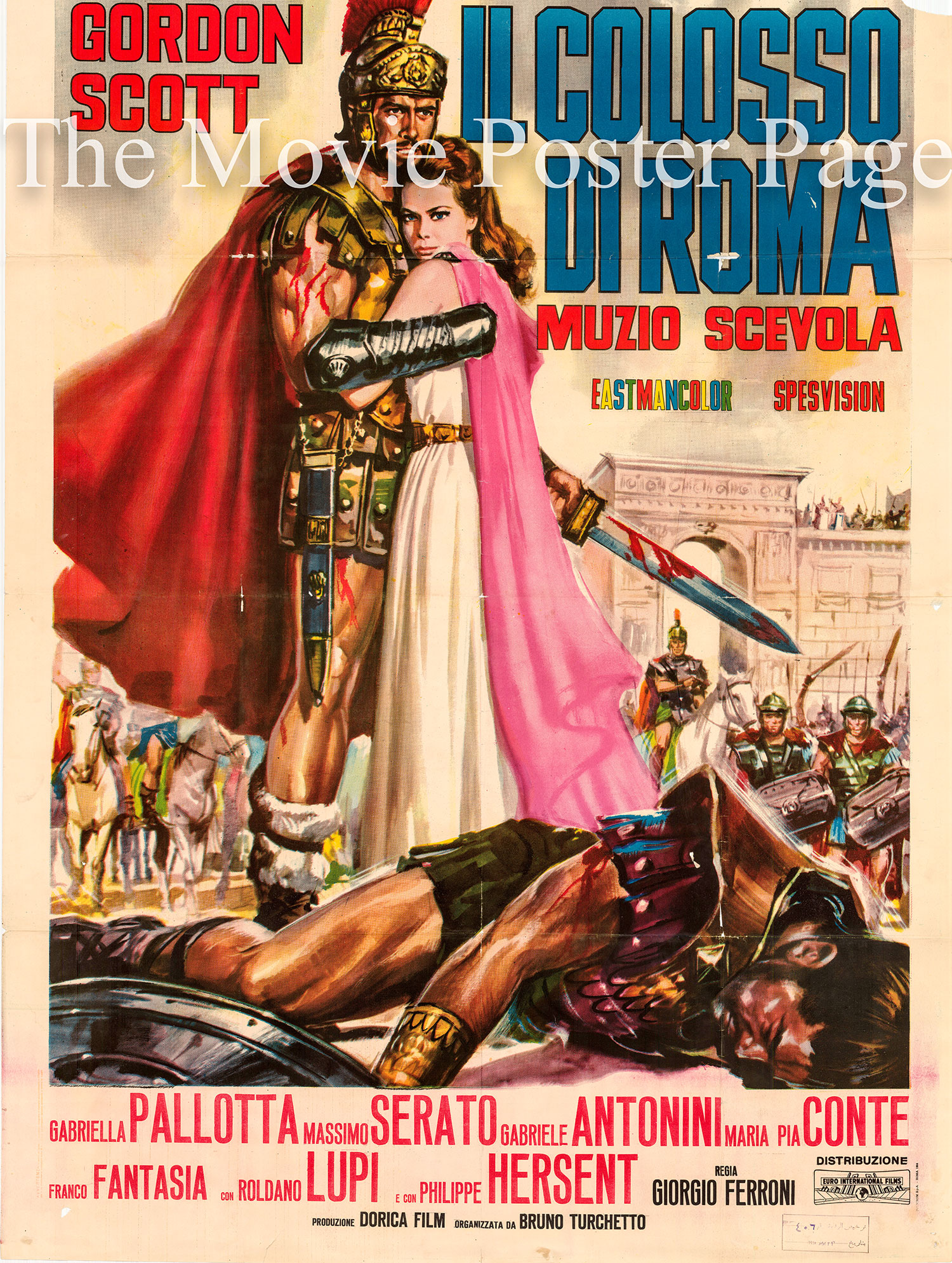 Pictured is an Italian two-sheet promotional poster for the 1964 Giorgio Ferroni film Hero of Rome starring Gordon Scott.