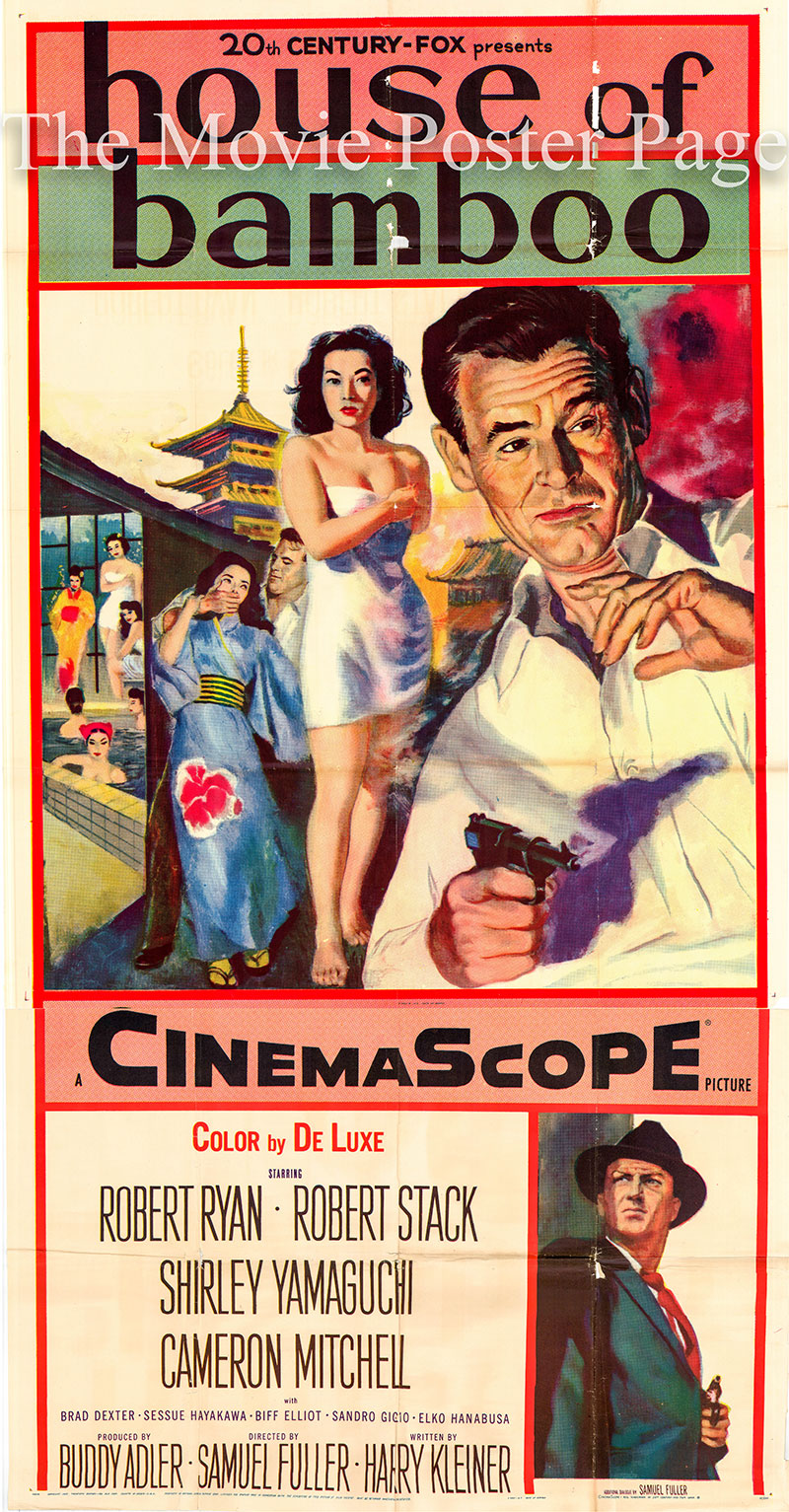 Pictured is a US three-sheet promotional poster for the 1955 Samuel Fuller film House of Bamboo starring Robert Ryan.