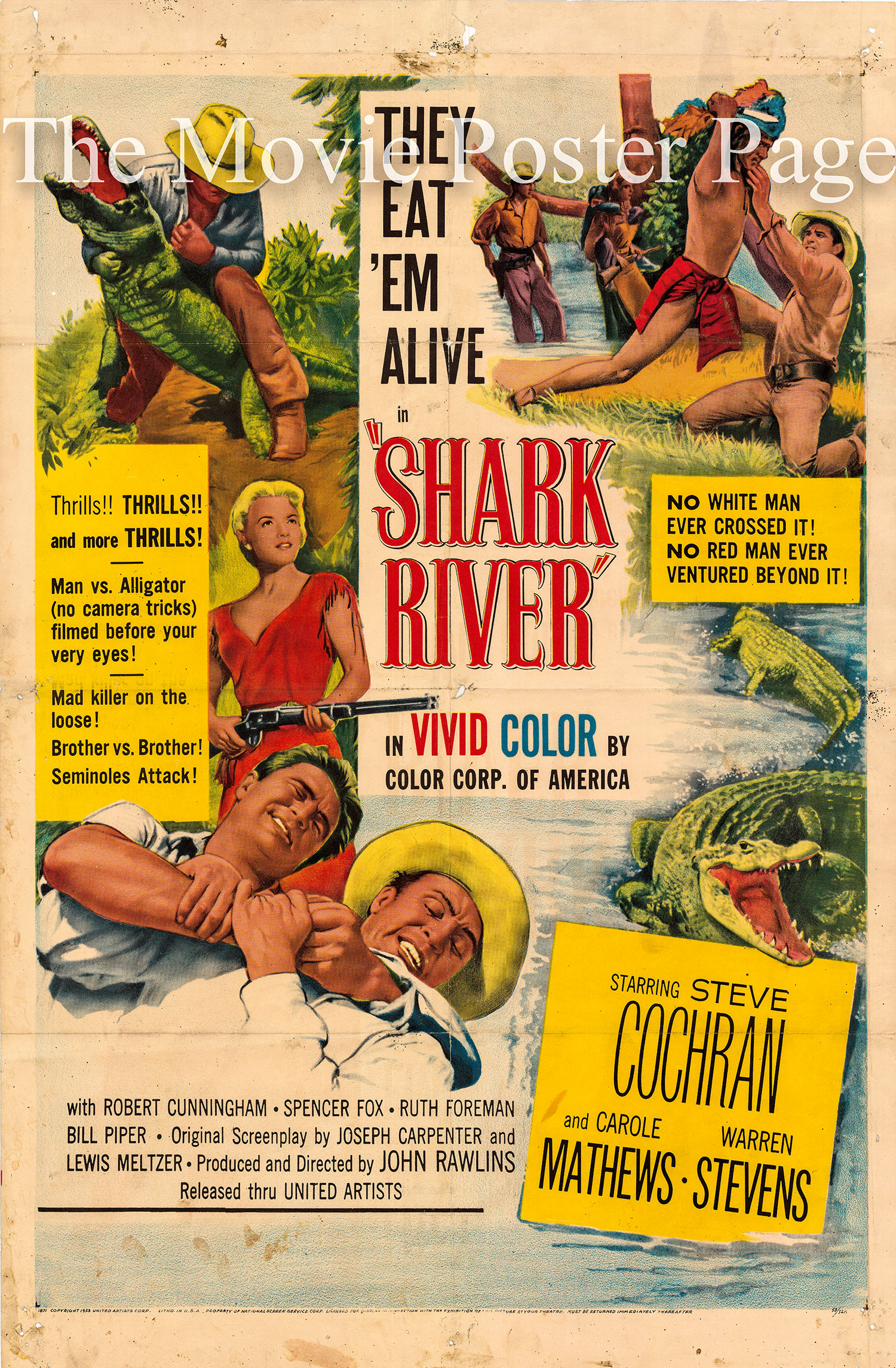Pictured is a US one-sheet promotional poster for the 1953 John Rawlins film Shark River starring Steve Cochran.