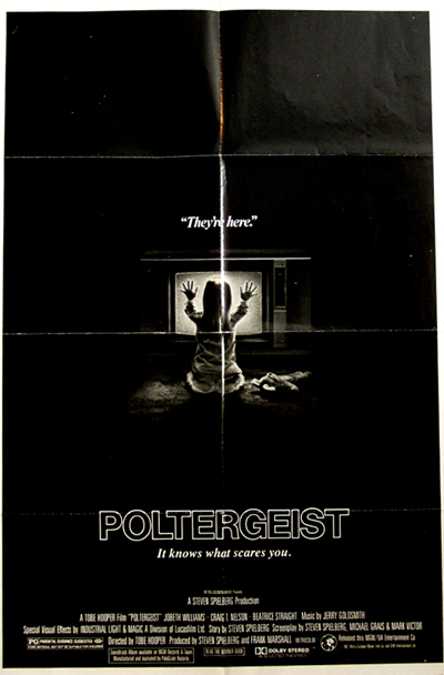 Pictured is a US one-sheet promotional poster for the 1982 Tobe Hooper film Poltergeist starring Craig T. Nelson.